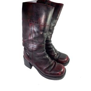 Shoes - Brazilian Leather red black long boots